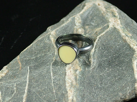 Pebble Shape Milk Sea Glass Ring