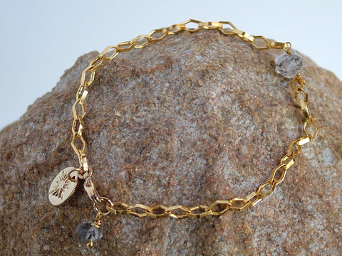 Diamond Link Chain Bracelet with Herkimer Diamond
