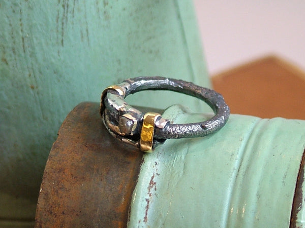 Mixed Metal Ring with Polished Diamond