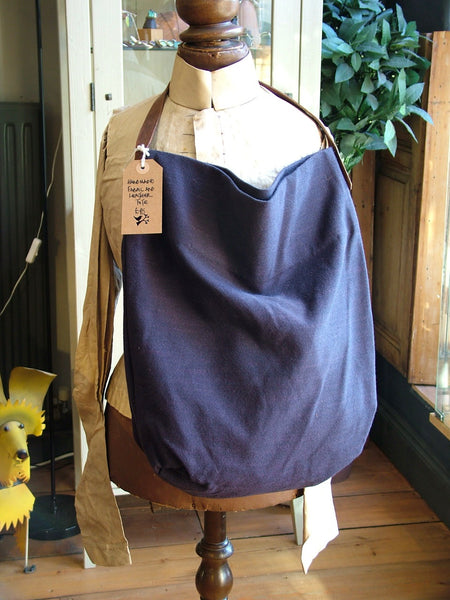 Blue Fabric and Leather Tote Bag