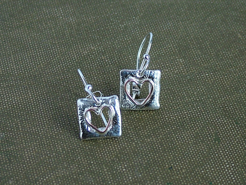 Window Heart Square Drop Earrings