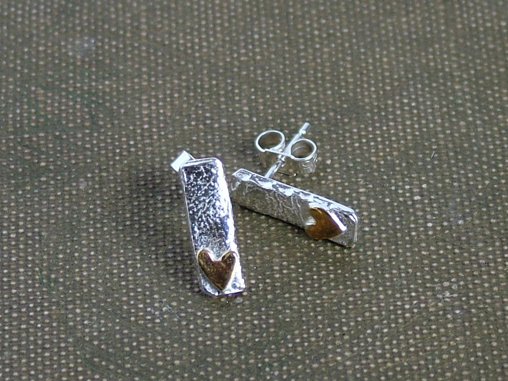 Silver Rectangular Studs with Gold Plated Heart