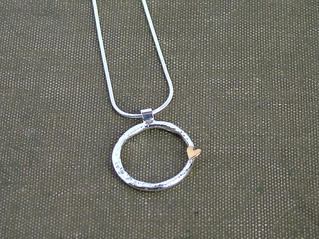 Silver Ring and Heart Pendant