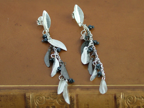 Silver Leaf Cluster and Spinel Earrings
