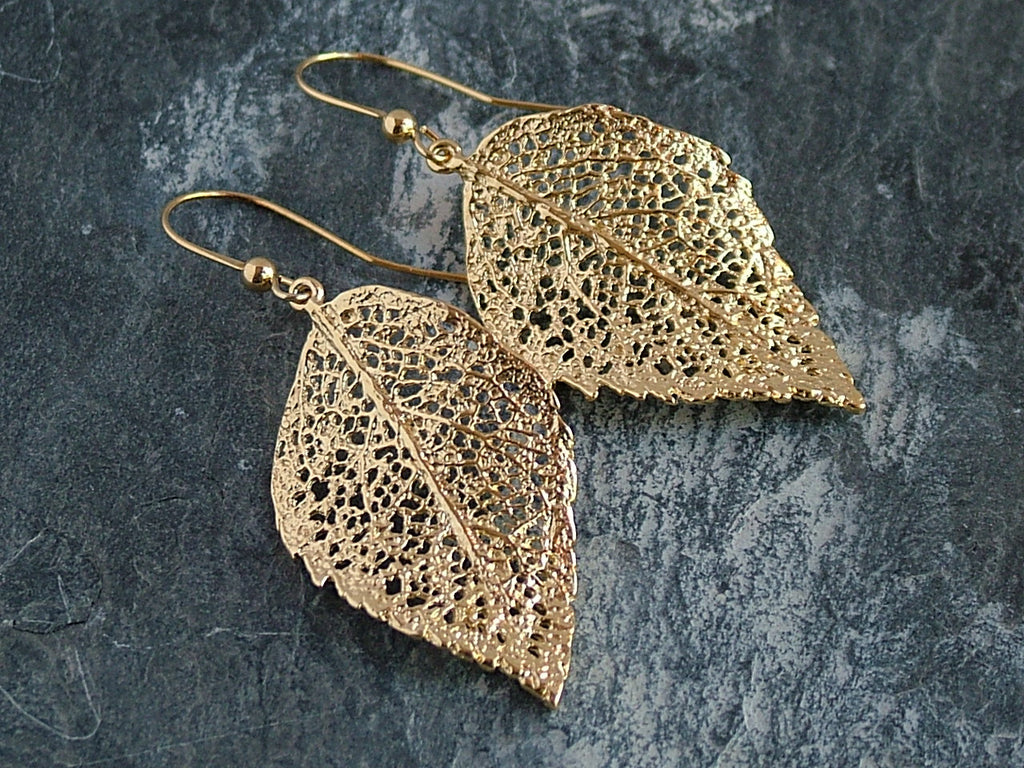 Gold Plated Leaf Earrings