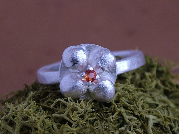 Silver Flower Ring with Orange Sapphire