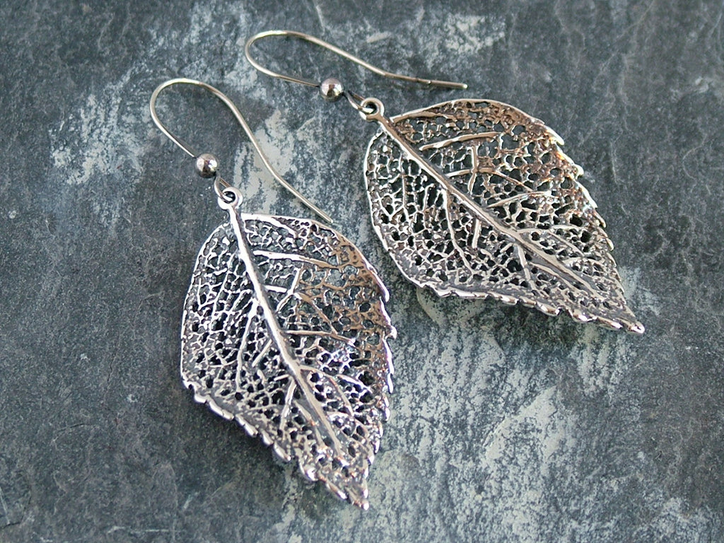Oxidised Silver Leaf Earrings