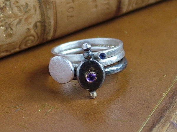Silver Ring Trio with Amethyst and Iolite