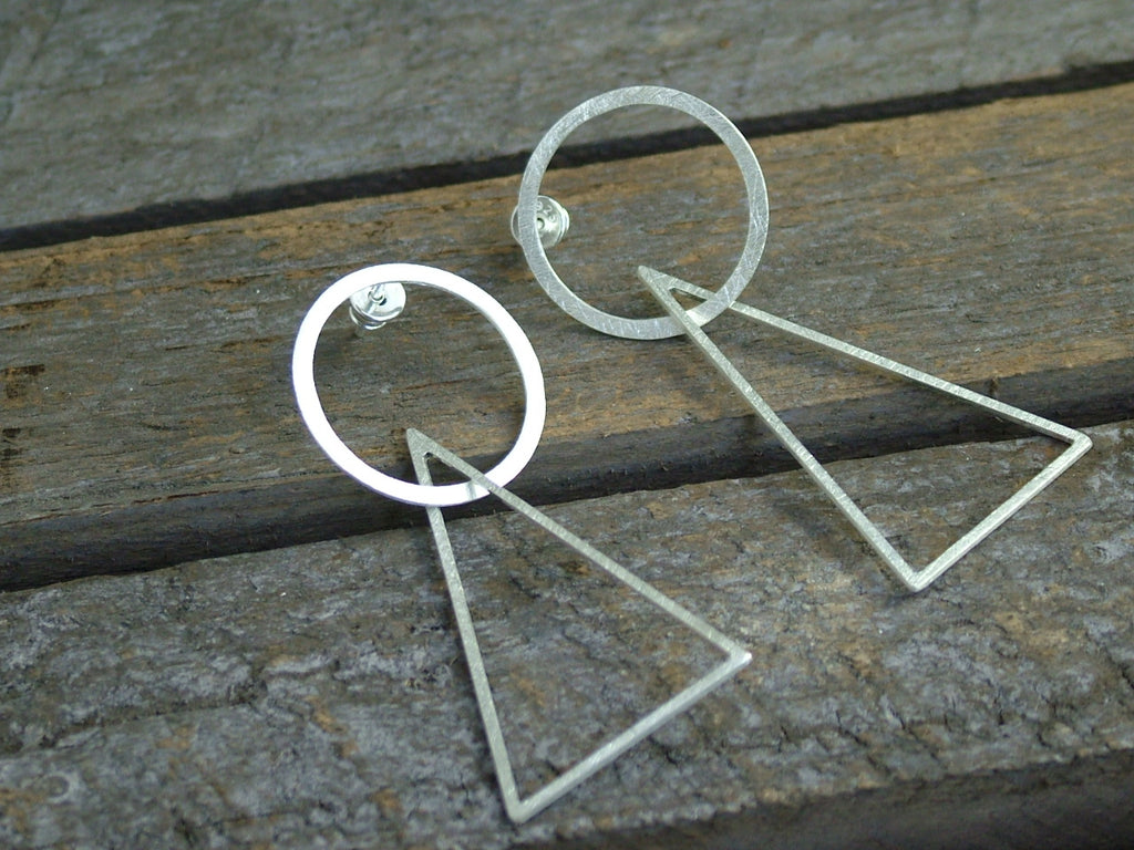 Silver Two Piece Geometric Drop Earrings