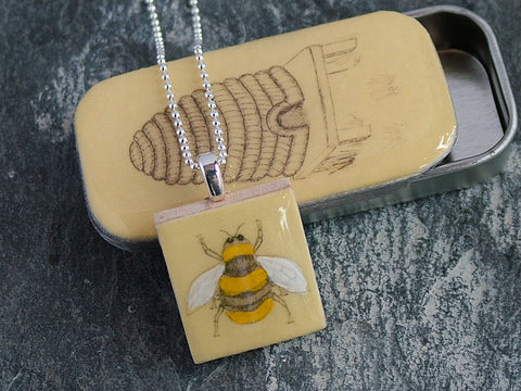 Bee Scrabble Tile Pendant