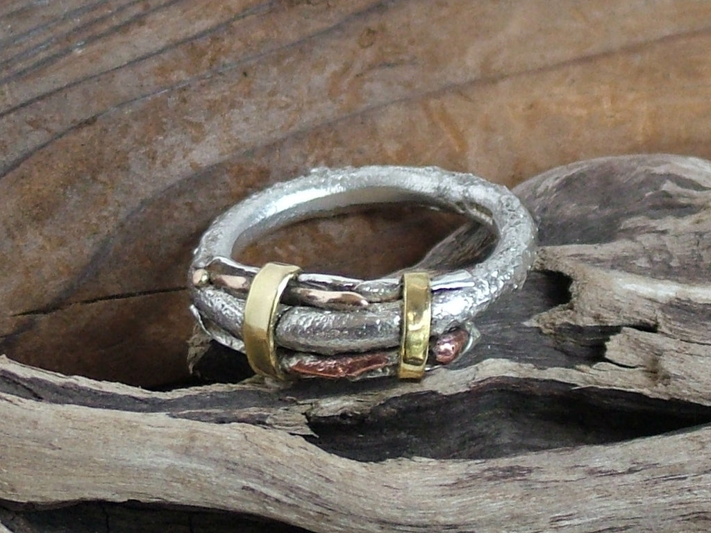 Textured Silver Gold Brass Bronze and Copper Ring 3mm
