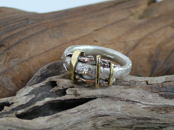 Textured Silver Gold Brass Bronze and Copper Ring 5 mm