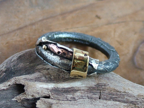 Textured Oxidised Silver Gold Brass Bronze and Copper Ring 3mm