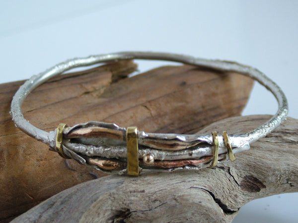 Organic Textured Mixed Metal Bangle