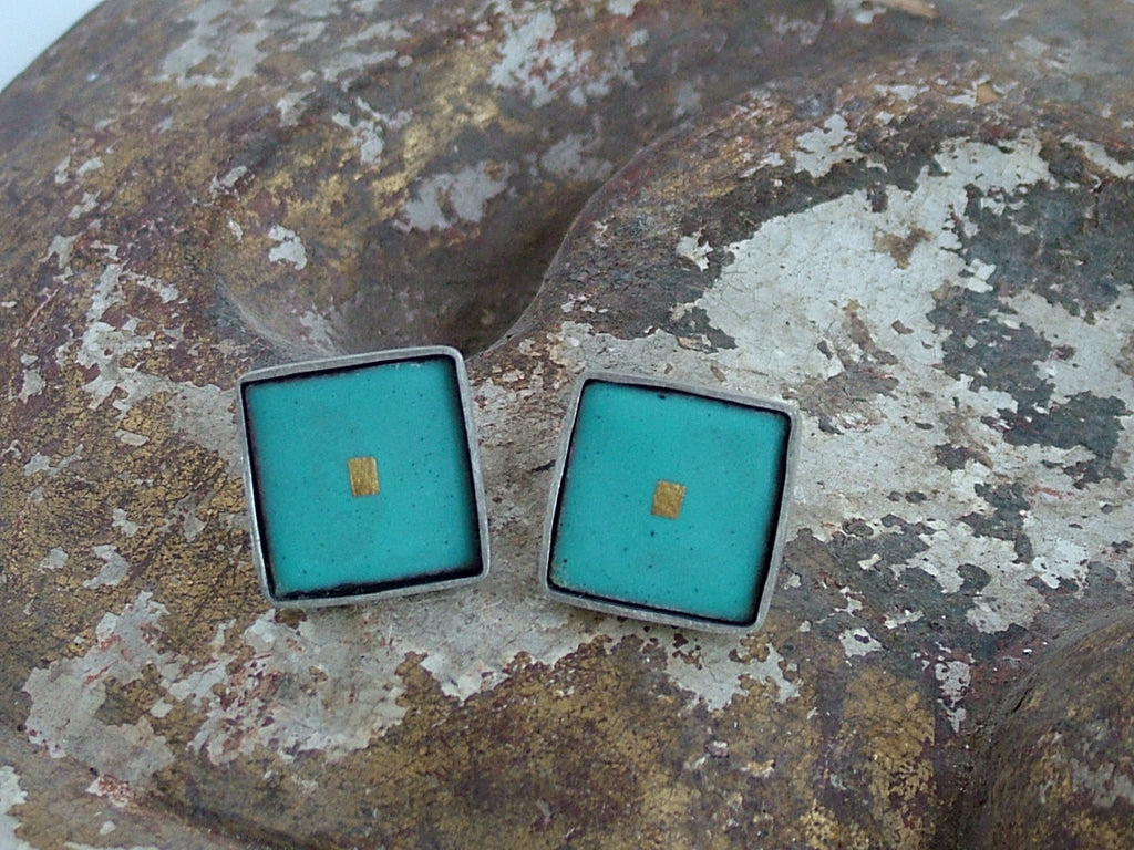 Large Square Enamel and Silver Studs