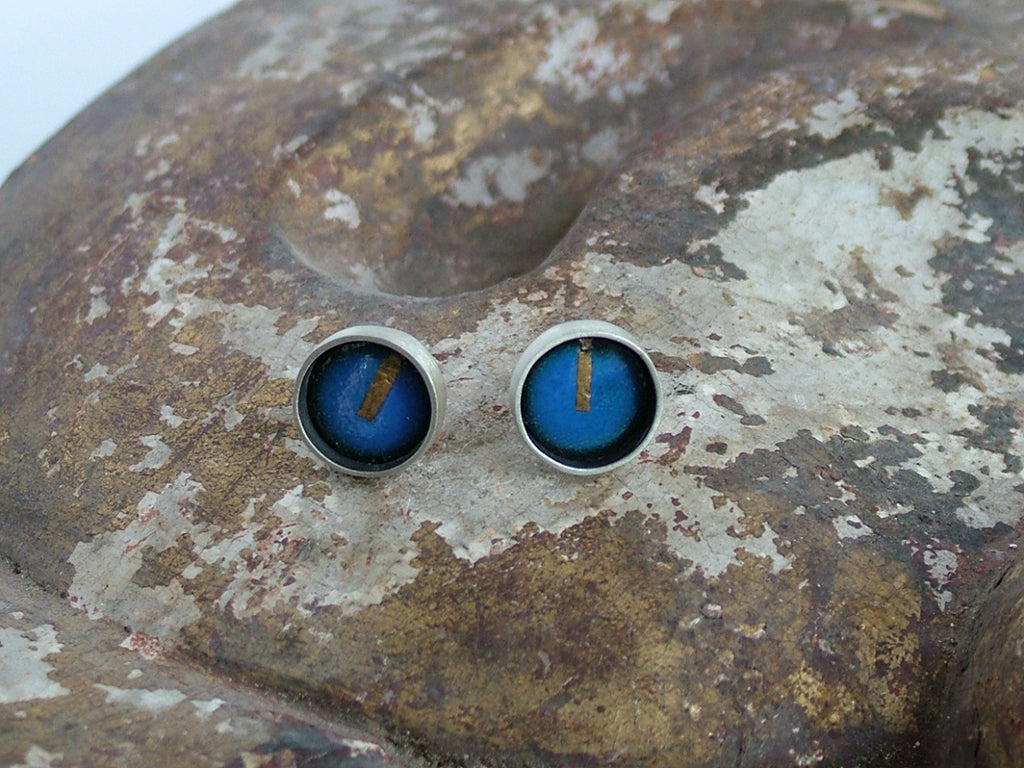Small Enamel and Silver Studs
