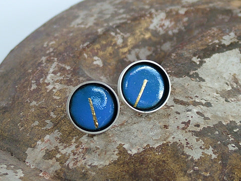 Large Enamel and Silver Studs