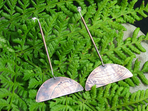 Botanical Tube Half Leaf Drop Earrings