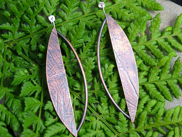 Bold Copper Leaf Earrings
