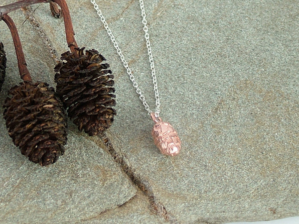 Rose Gold Plated Silver Pine Cone Necklace