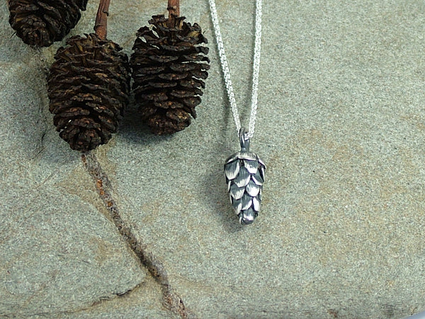 Large Oxidised Silver Pine Cone Necklace