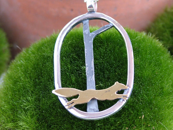 Large Oval Pendant with Running Fox