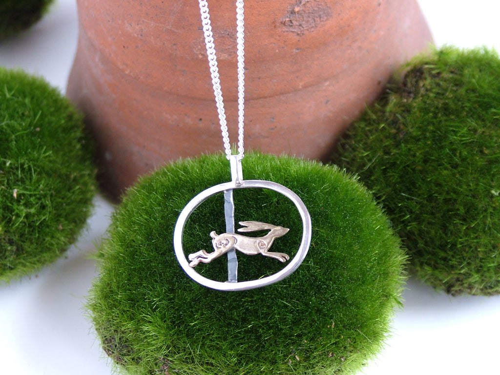 Medium Oval Pendant with Running Hare