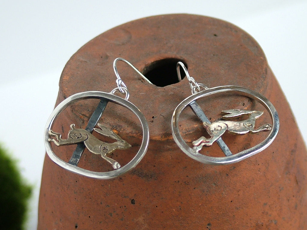 Running Hare Drop Earrings