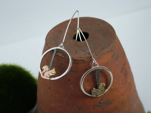 Circular Drop Earrings with Squirrels