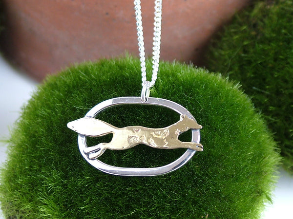 Small Oval Silver Pendant with Running Fox