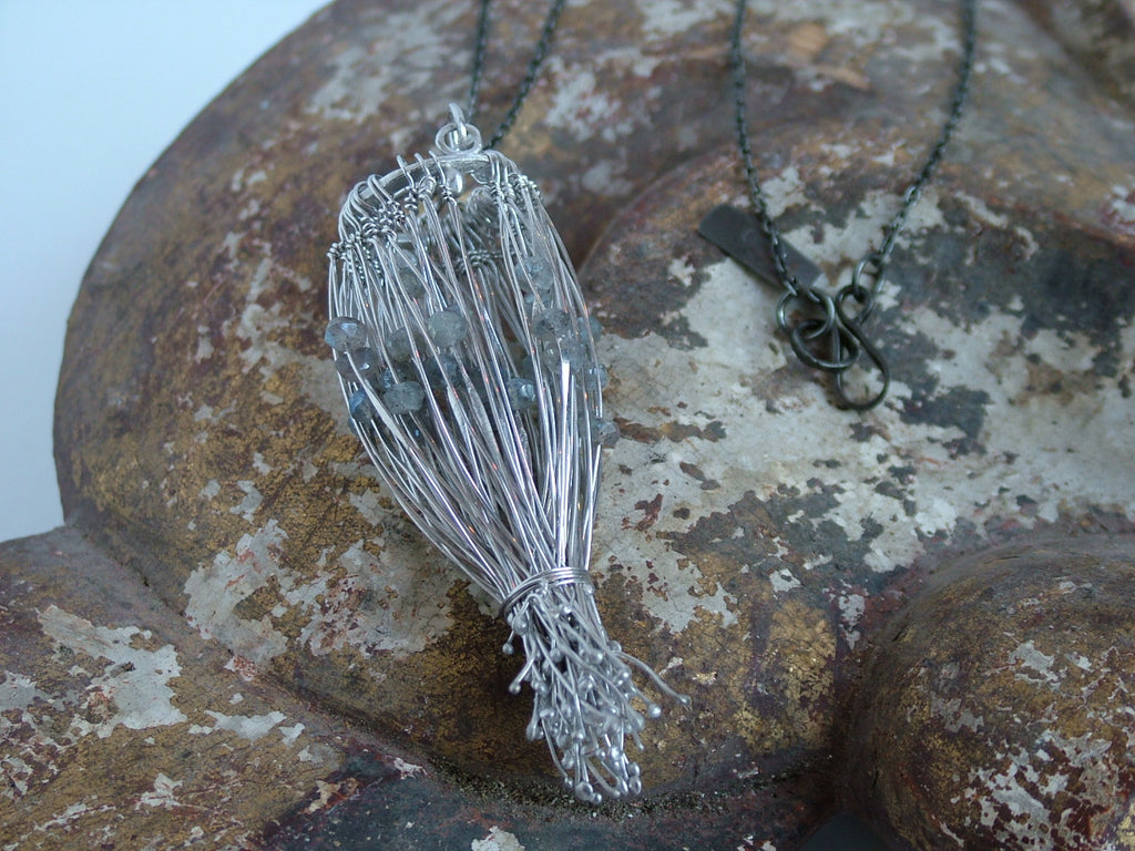 Statement Silver Wire and Labradorite Bead Necklace