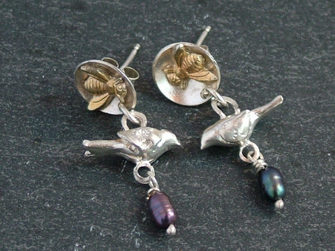 Bird and Bee Earrings
