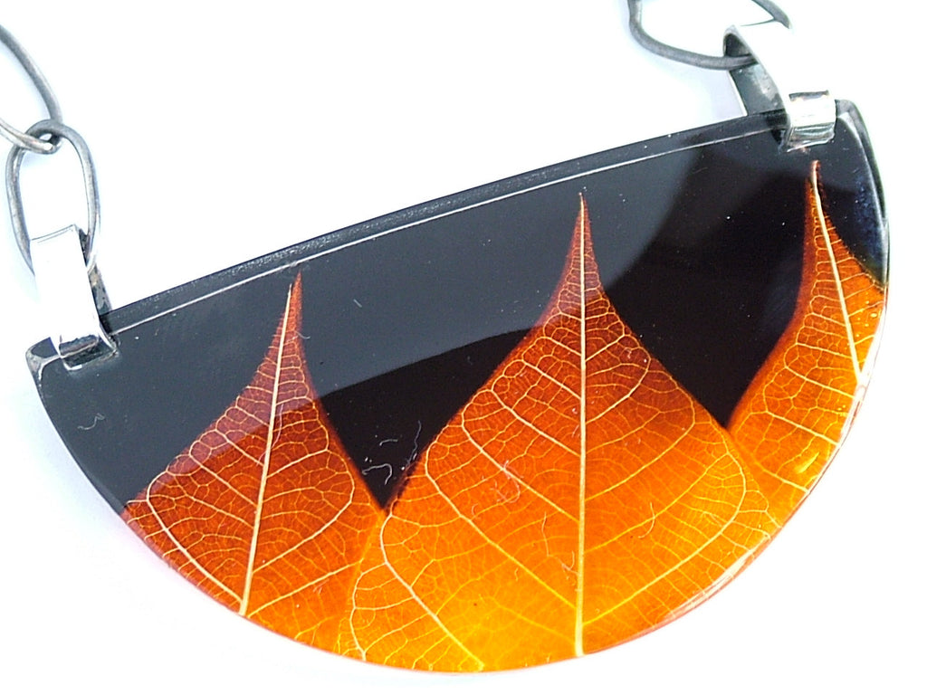 Ginger Skeleton Leaf Necklace