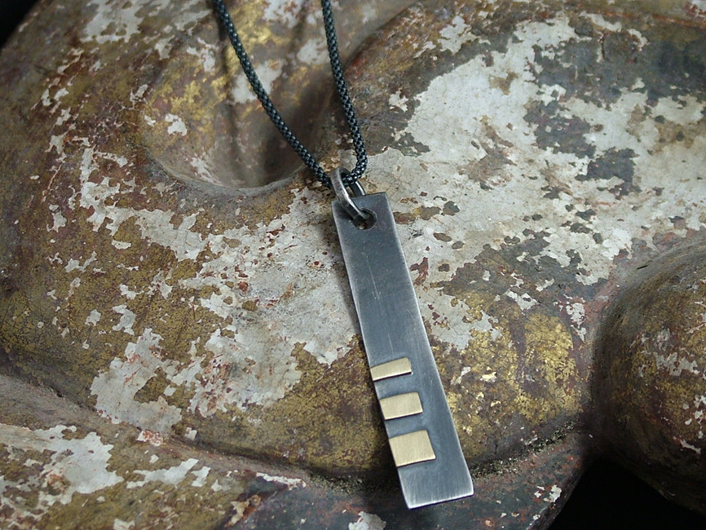 Rectangular Oxidised Silver Pendant with Gold Detail