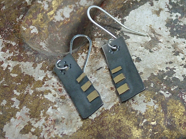 Rectangular Oxidised Silver Drop Earrings with Gold Detail