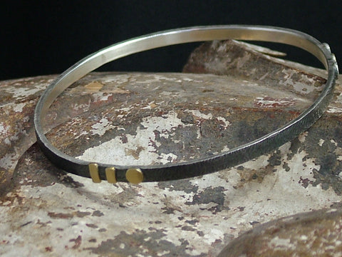 Narrow Oval Silver Bangle