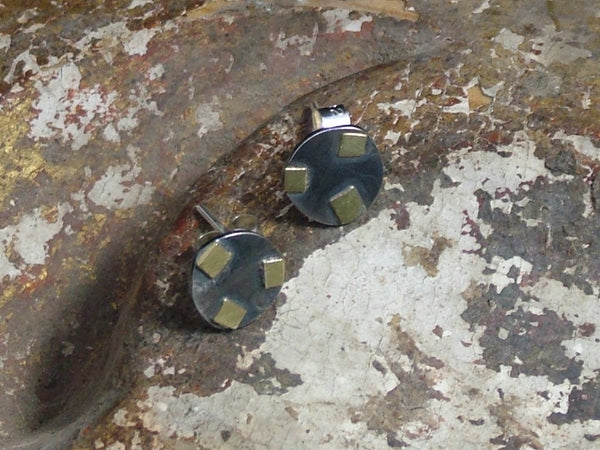Oxidised Silver Studs with Three Gold Squares