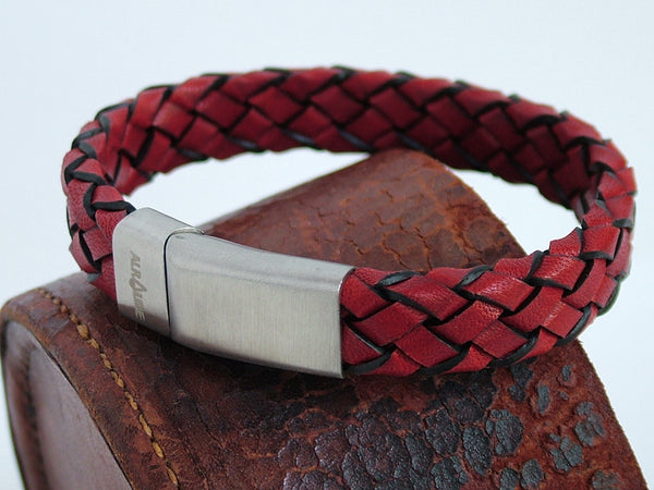Chunky Woven Red Leather Bracelet