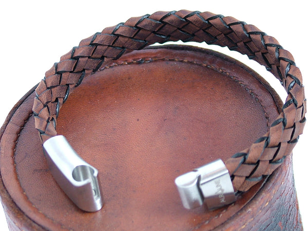 Chunky Woven Brown Leather Bracelet