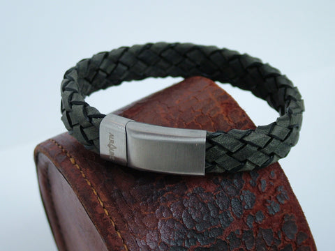 Chunky Woven Grey Leather Bracelet