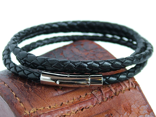 Plaited Black Leather Wrap Bracelet