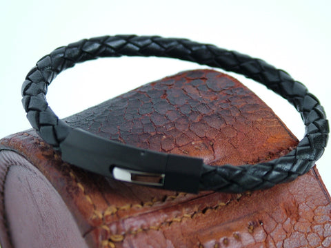 Plaited Black Leather Bracelet with IP Plated Stainless Steel clasp