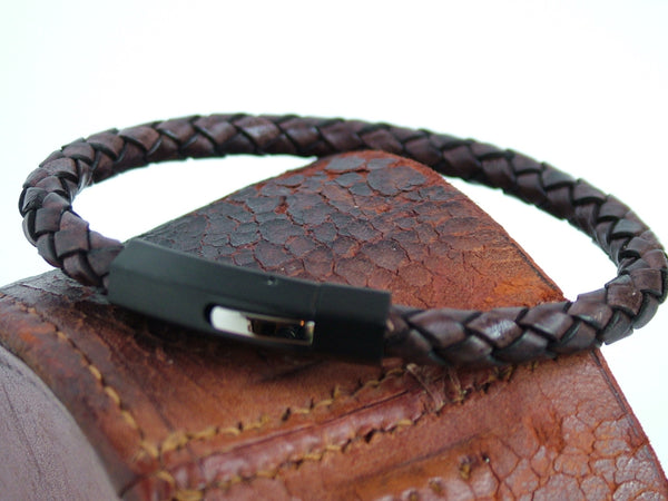 Plaited Brown Leather Bracelet with IP Plated Stainless Steel Clasp