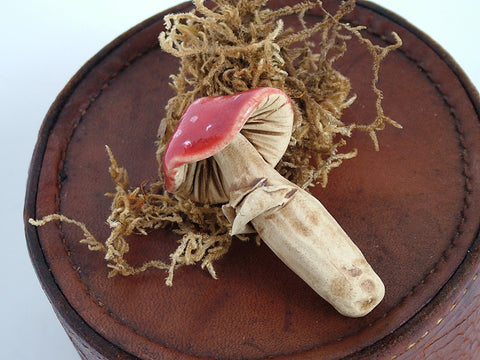 Mushroom Brooch Red with White Spots