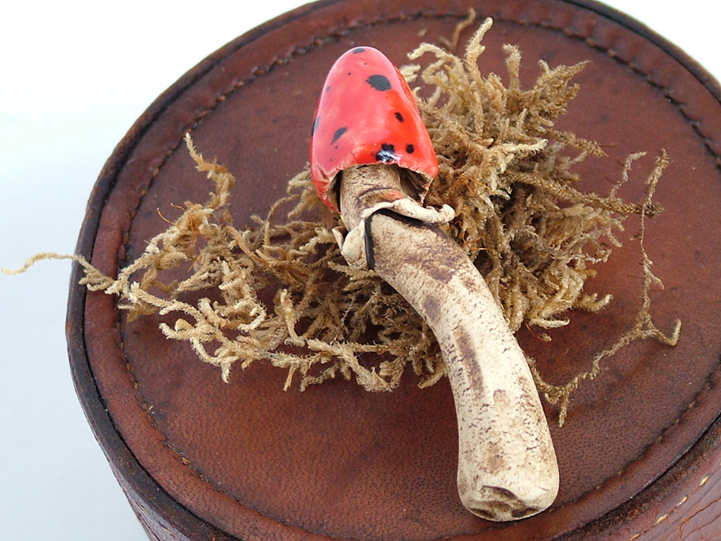 Mushroom Brooch Red with Black Spots
