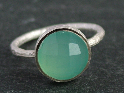 Round Cupcake Ring with Aqua Chalcedony