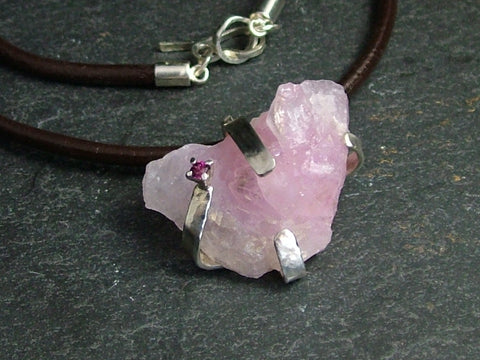 Rose Quartz on Leather Necklace