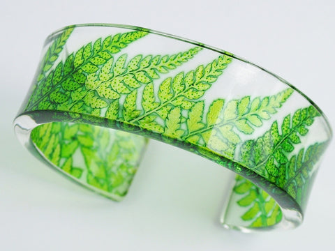 Narrow Lime Fern Bangle