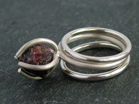 Small Cage Ruby Garnet Ring Set