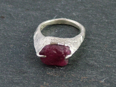 Traces Ring with Rough Cut Ruby